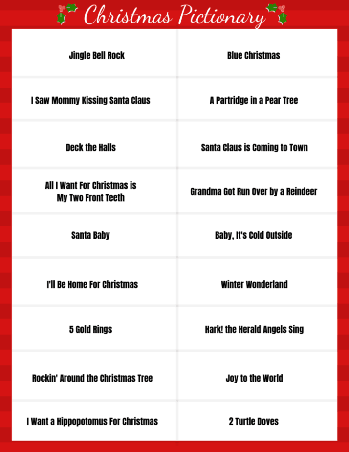 Image of words and phrases for Christmas Pictionary